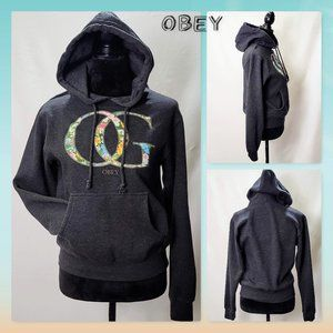 💜Obey Dark Gray Hoodie, Floral Graphic size S💜